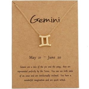 GEMINI Gold Charm Necklace - New